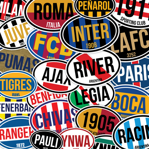 Euro-Style Oval Soccer Stickers