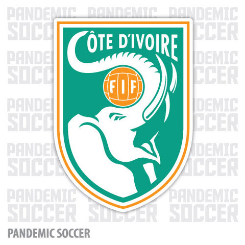 Ivory Coast National Soccer Elephants Vinyl Sticker Decal - Pandemic Soccer