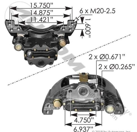 158.K081142-Air Disc Brake Caliper with Carrier ADB22X, (product_type), (product_vendor) - Nick's Truck Parts