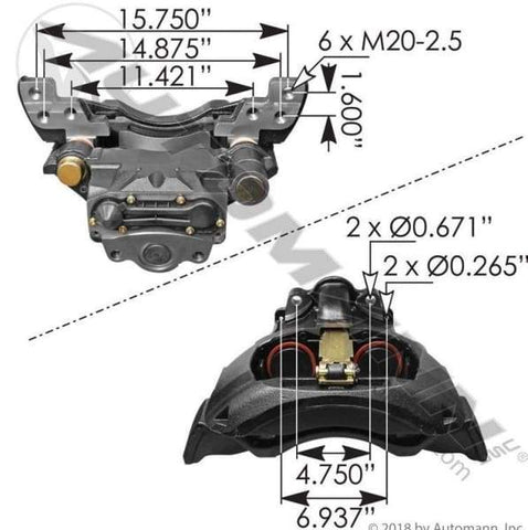 158.K081143-Air Disc Brake Caliper with Carrier ADB22X, (product_type), (product_vendor) - Nick's Truck Parts