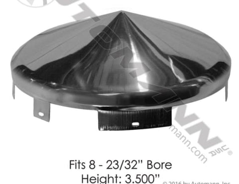 562.B2601C- Front Hub Cap 6 Notch 3/4in Lip Chrome - Trailer Hub
