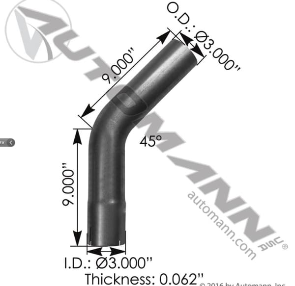 562.U4345E9A-Exhaust Elbow 3in 45 Deg ID-OD ALZ, (product_type), (product_vendor) - Nick's Truck Parts