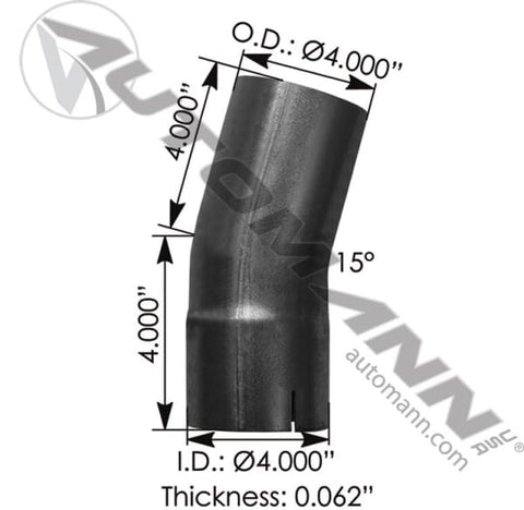 562.U4415E4A-Exhaust Elbow 4in 15 Deg ID-OD ALZ, (product_type), (product_vendor) - Nick's Truck Parts