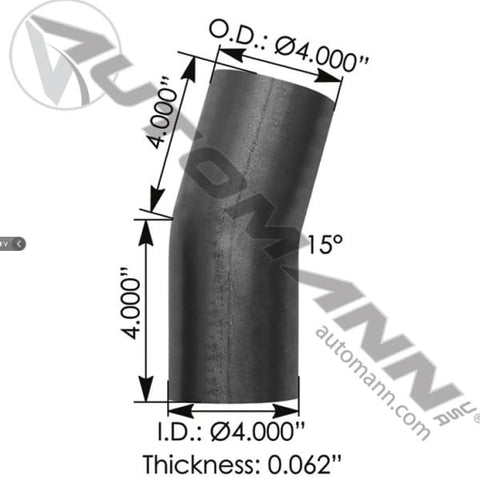 562.U4415S4A-Exhaust Elbow 4in 15 Deg OD-OD ALZ, (product_type), (product_vendor) - Nick's Truck Parts