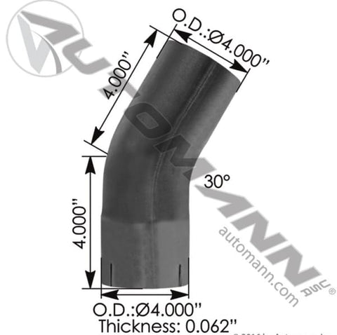 562.U4430E4A-Exhaust Elbow 4in 30 Deg ID-OD ALZ, (product_type), (product_vendor) - Nick's Truck Parts