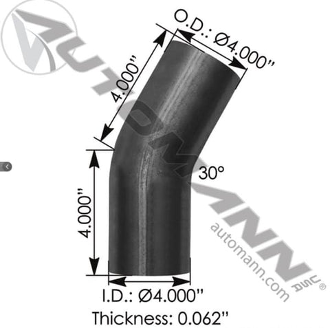 562.U4430S4A-Exhaust Elbow 4in 30 Deg OD-OD ALZ, (product_type), (product_vendor) - Nick's Truck Parts