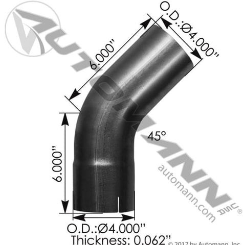 562.U4445E5A-Exhaust Elbow 4in 45 Deg ID-OD ALZ, (product_type), (product_vendor) - Nick's Truck Parts