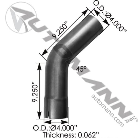 562.U4445E9A-Exhaust Elbow 45 Deg 4in ID-OD, (product_type), (product_vendor) - Nick's Truck Parts