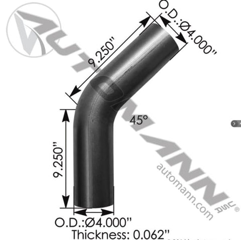 562.U4445S9A-Exhaust Elbow 45 Deg 4in OD-OD, (product_type), (product_vendor) - Nick's Truck Parts