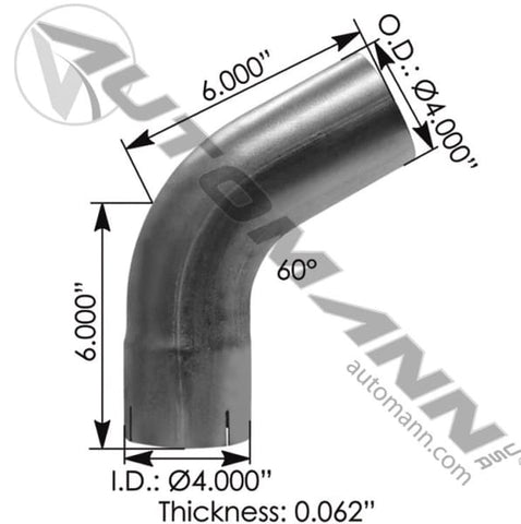 562.U4460E4A-Exhaust Elbow 4in 60 Deg ID-OD ALZ, (product_type), (product_vendor) - Nick's Truck Parts