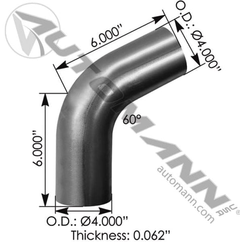 562.U4460S4A-Exhaust Elbow 4in 60 Deg OD-OD ALZ, (product_type), (product_vendor) - Nick's Truck Parts