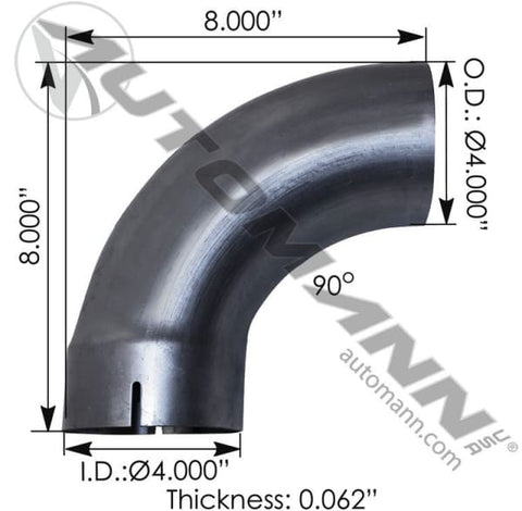 562.U4490E8A-Exhaust Elbow 90 Deg 4in ID-OD, (product_type), (product_vendor) - Nick's Truck Parts