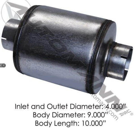 562.U64091 - Resonator 4in Inlet/Outlet 9in Body, (product_type), (product_vendor) - Nick's Truck Parts