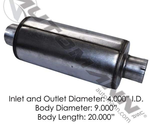 562.U64092 - Muffler 4in Inlet/Outlet 9in Body, (product_type), (product_vendor) - Nick's Truck Parts