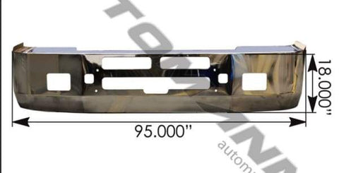 564.59109C-Bumper Chrome Kenworth 18in T600, (product_type), (product_vendor) - Nick's Truck Parts