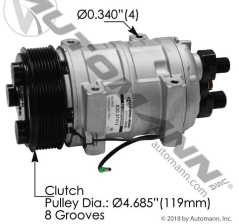 830.31412 - Air Conditioning Compressor TM16 Type, (product_type), (product_vendor) - Nick's Truck Parts