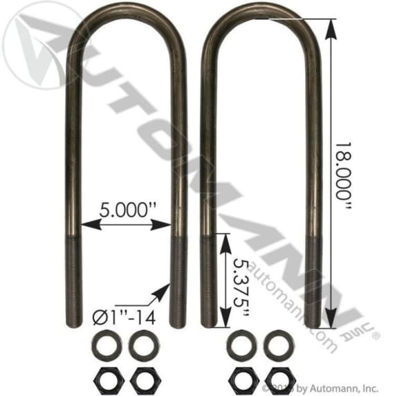 AUBK8175-18- U Bolt Kit 1 x 5x 18 In., (product_type), (product_vendor) - Nick's Truck Parts