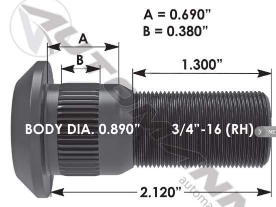 E-11660R-Serrated Wheel Stud, (product_type), (product_vendor) - Nick's Truck Parts