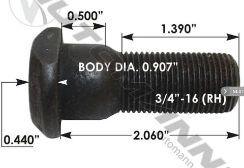 E-11685R-Clipped Head Stud, (product_type), (product_vendor) - Nick's Truck Parts