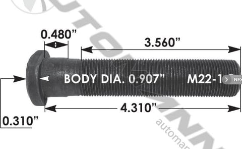 E-11692-Metric Clipped Head Stud, (product_type), (product_vendor) - Nick's Truck Parts