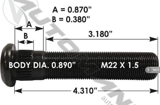 E-11702-Metric Serrated Stud, (product_type), (product_vendor) - Nick's Truck Parts