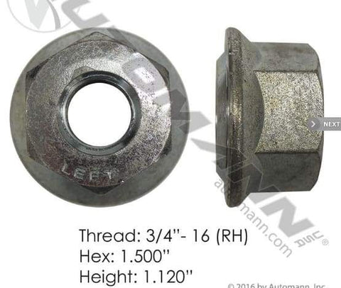 E-5578R  -  Flanged Nut (Ball Seat), (product_type), (product_vendor) - Nick's Truck Parts