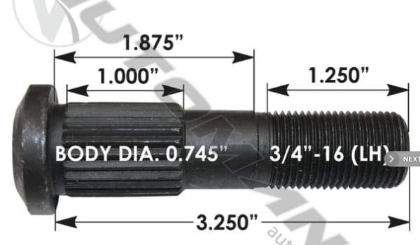 E-8993L-Serrated Wheel Stud, (product_type), (product_vendor) - Nick's Truck Parts