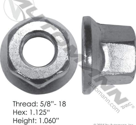 E-9022R  -  Flanged Nut (One Piece), (product_type), (product_vendor) - Nick's Truck Parts