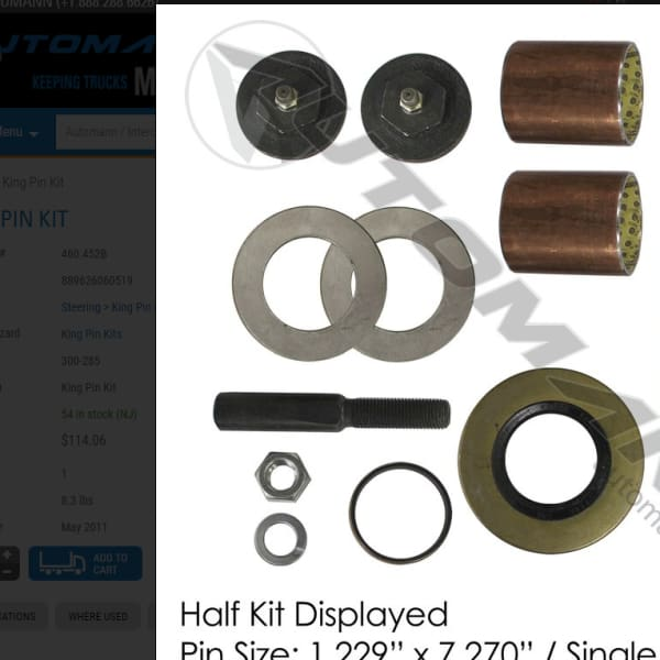 FKP-103-B -Standard King Pin Kit 1988-1997 Ford F53 - Steering