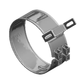 Lincoln Chrome-50-04073-7 in. Wide Chrome  Aero Kenworth Clamp, (product_type), (product_vendor) - Nick's Truck Parts