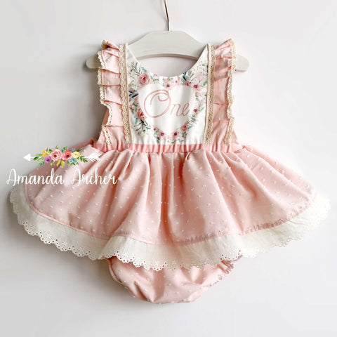 1st Birthday Skirted Romper, Light Rose Swiss Dot