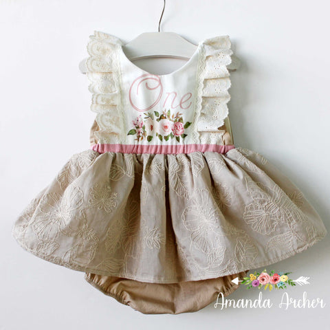 1st Birthday Dress Romper, Natural Wonders