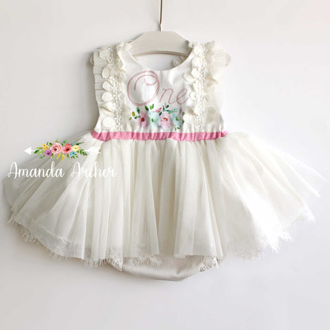 1st Birthday Ivory Tulle Romper, mint/pink print RTS