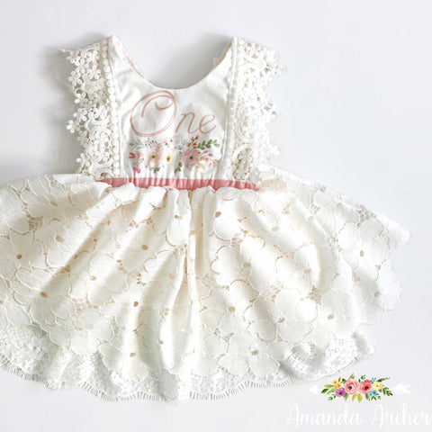 1st Birthday Dress, Lace Bloom and Grow