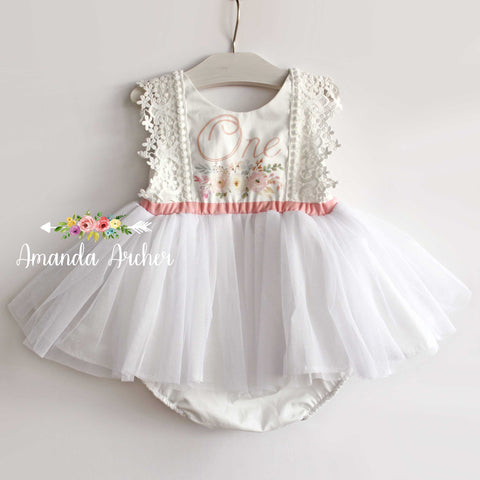 1st Birthday Tulle Romper in White