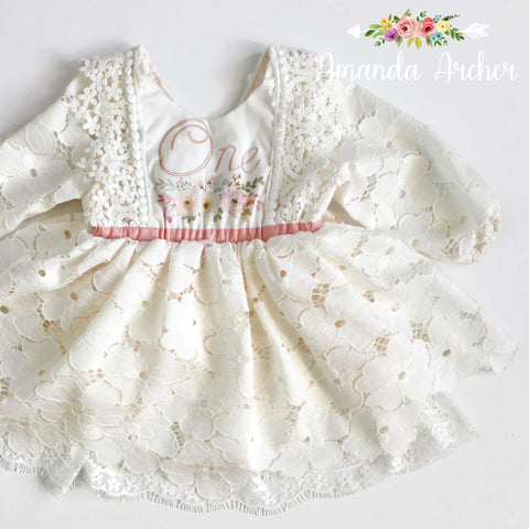 1st Birthday Dress with Sleeves, Lace Bloom and Grow