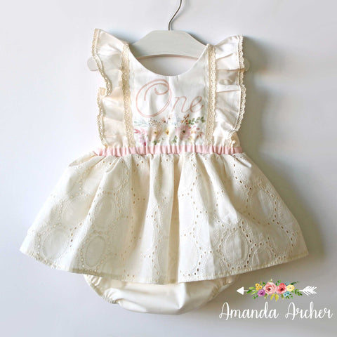 1st Birthday Dress Romper, Natural Eyelet
