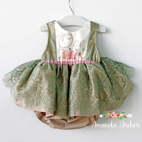 1st Birthday Dress Romper, French Patina