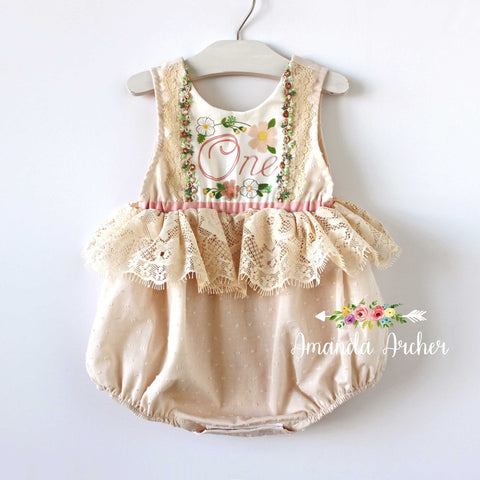 Baby Girl's 1st Birthday Keepsake Romper, Vintage Cream