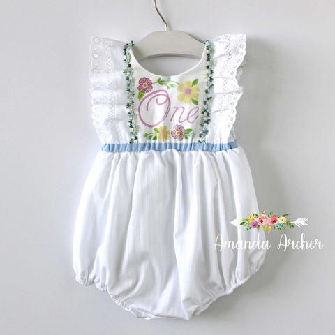 1st Birthday Keepsake Romper, White Eyelet, Floral Blue