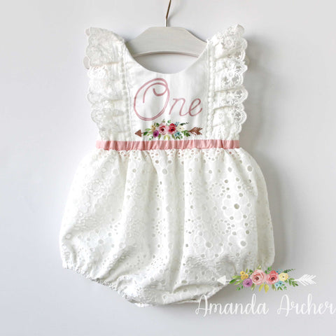 1st Birthday Keepsake Romper, Off White Eyelet, Floral Blush