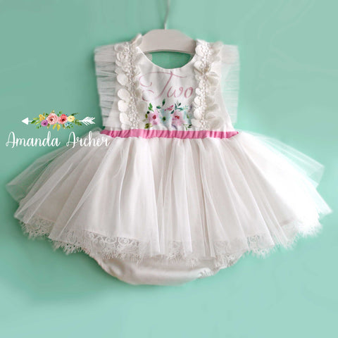 2nd Birthday Ivory Tulle Romper, mint/pink print