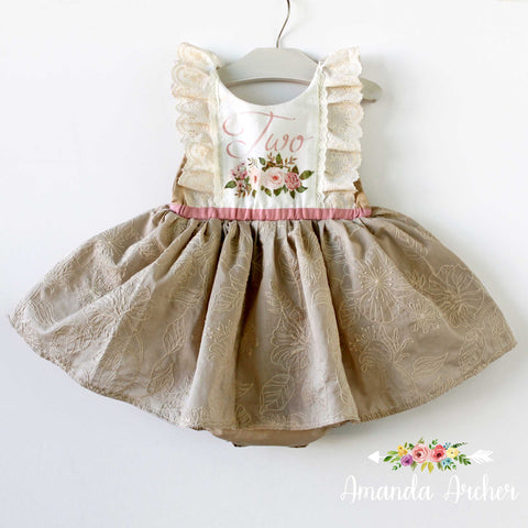 2nd Birthday Dress Romper, Natural Wonders RTS