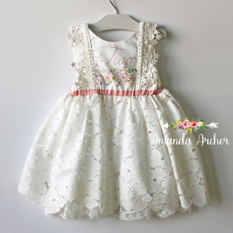 2nd Birthday Dress, Lace Bloom and Grow 2T MTO
