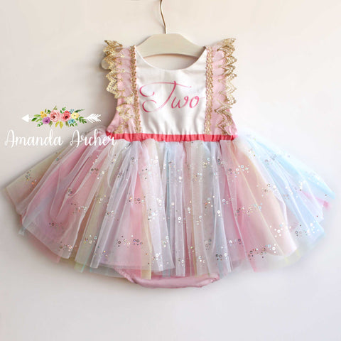 2nd Birthday Rainbow Sequin Romper Dress
