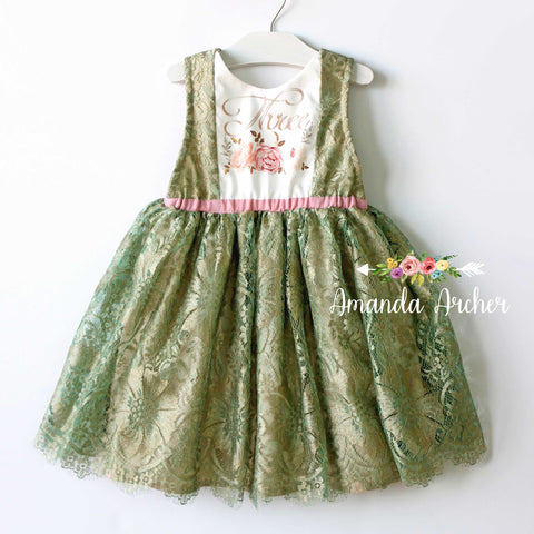 3rd Birthday Dress, French Patina Lace 3T