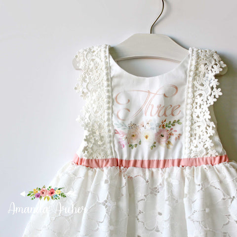 3rd Birthday Dress, Lace Bloom and Grow 3T