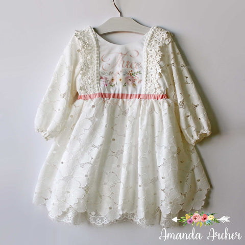 3rd Birthday Dress with Sleeves, Lace Bloom and Grow 3T