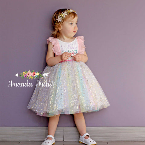 3rd Birthday Dress, Rainbow Sparkle