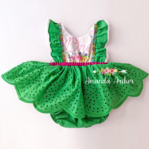 1st Birthday Garden Romper Dress